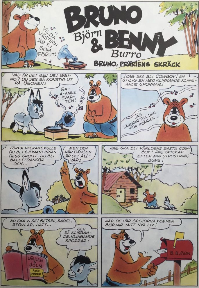 Första sidan ur episoden Bruno, präriens skräck, med Bruno Björn och Benny Burro. ©Turner