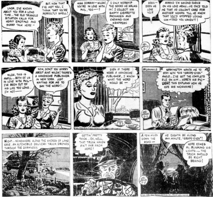 Avslutande dagsstrippar i original ur episoden The Case of the Phantom Fingerprints från 1-3 maj 1947. ©KFS