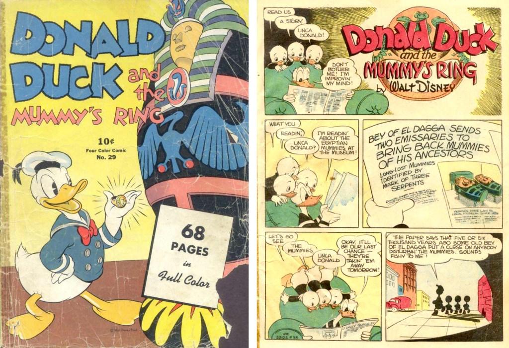 Omslag och inledande sida till Donald Duck and the Mummy's Ring (september 1943) ur Four Color Comic #29. ©Dell/Disney
