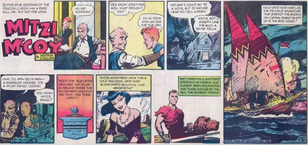 Söndagsstripp med Mitzi McCoy från 24 september 1950, när Kevin för första gången blir omnämnd. ©NEA