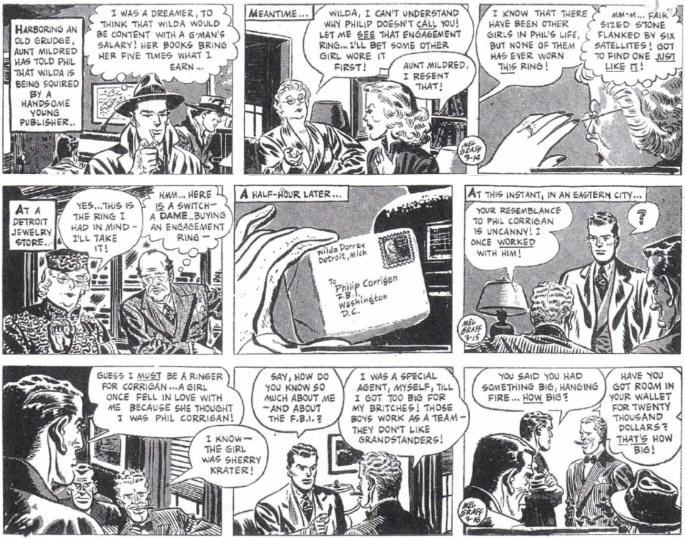 Tre dagsstrippar i original som inleder andra veckan med episoden, 14-16 mars 1949. ©KFS