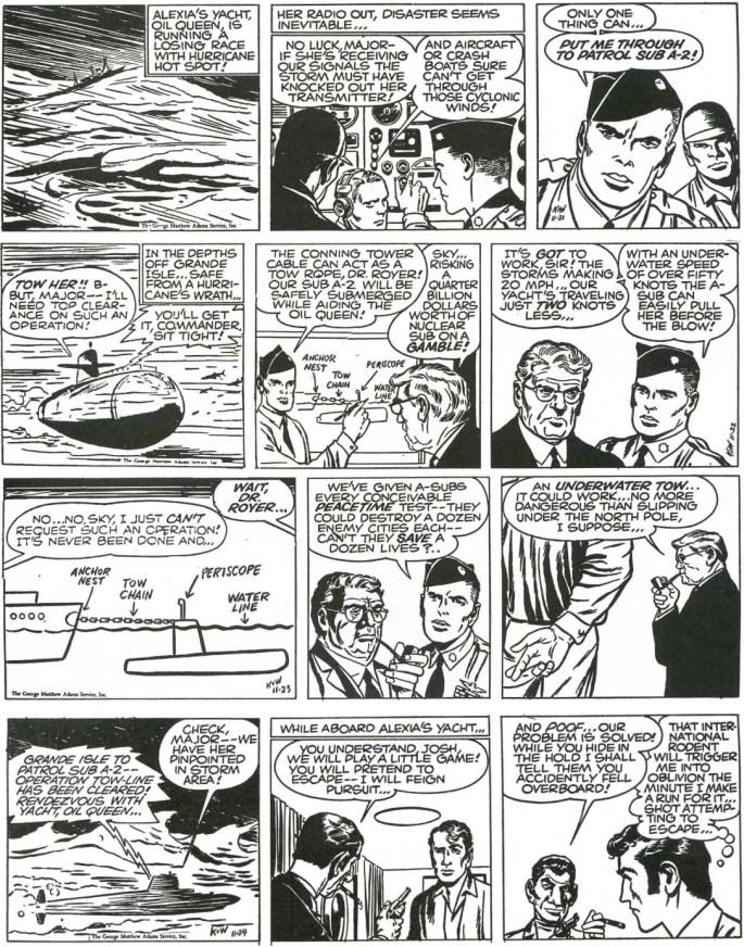 Motsvarande dagsstrippar i original från 21-24 november, 1960. ©Adams