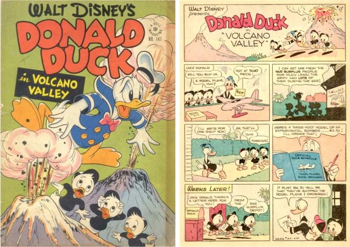 Omslag och inledande sida till Volcano Valley (maj 1947) ur Four Color Comic #147. ©Dell/Disney
