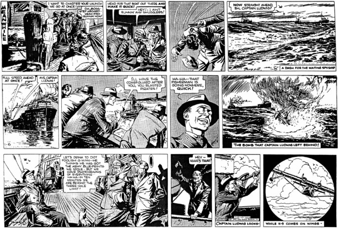 Motsvarande dagsstrippar från 5-7 januari 1939. ©KFS