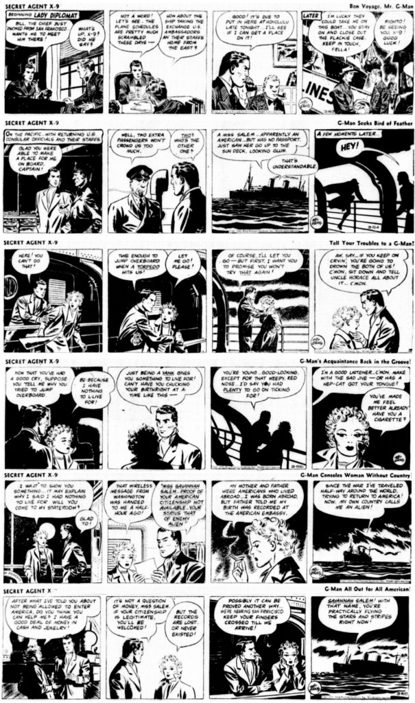 """Inledande dagsstrippar från 23-28 mars 1942 ur episoden """"Lady Diplomat"""". ©KFS"""
