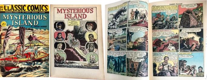 Omslag, förstasida och ett uppslag ur Classic Comics #34 (1947). ©Gilberton