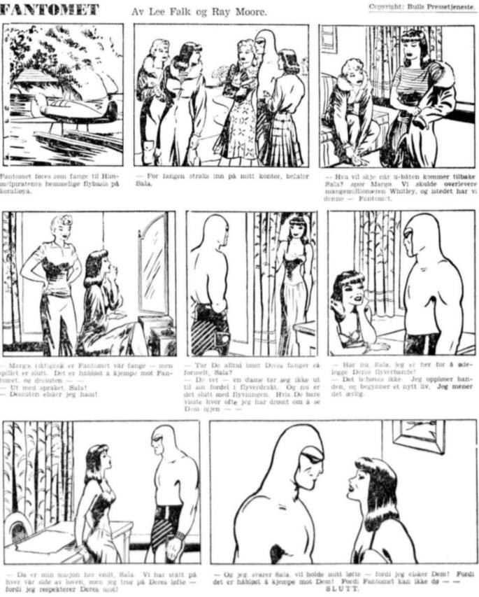 Fantomet i Aftenposten den 28 mars 1942. ©Bulls