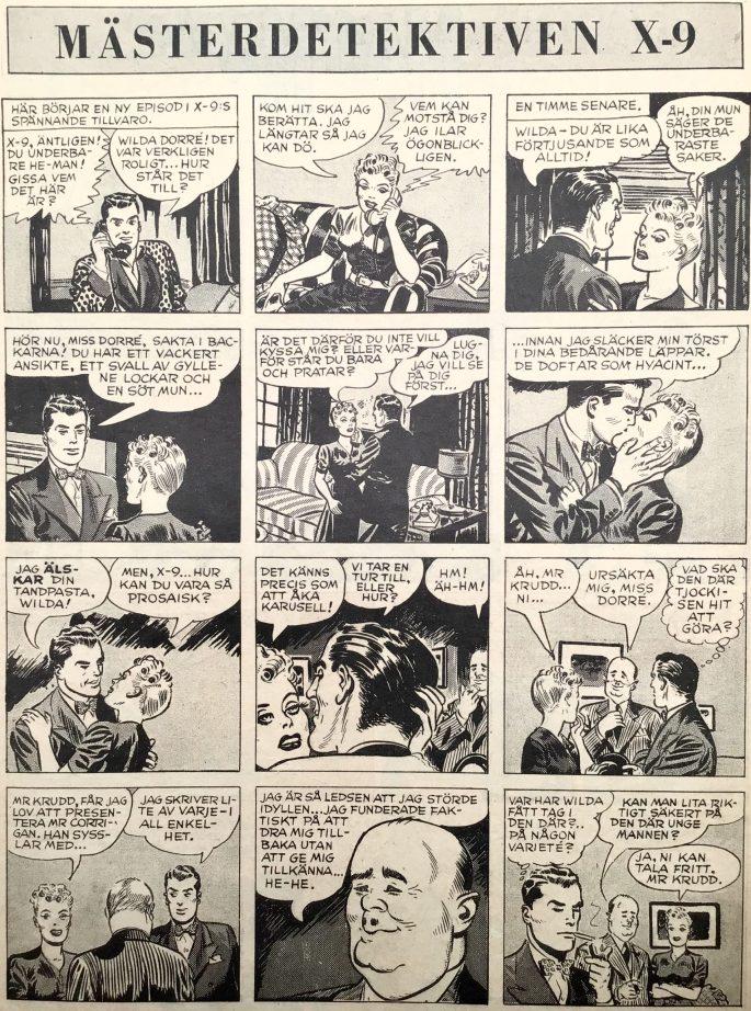 Inledningen till episoden Buried Treasur ur Agent X-9 i Karl-Alfred  nr 16, 1947. ©Bulls