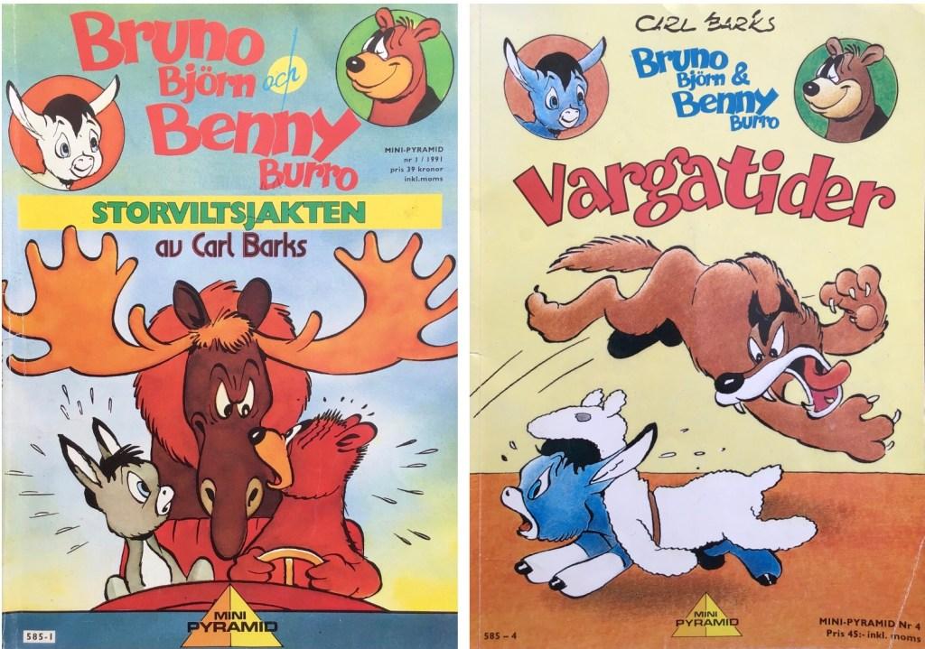 Mini-pyramid-album nr 1 (1991) och nr 4 (1992) med Bruno Björn och Benny Burro. ©Atlantic/Epix