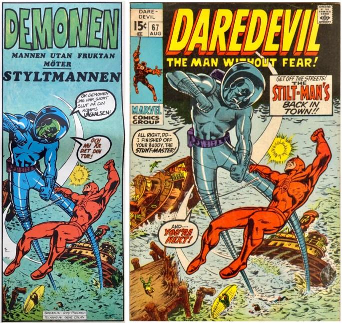 Inledande ruta från framsidan på Serie-Pressen nr 4, 1971, omslag till Daredevil #67 (1970). ©Marvel