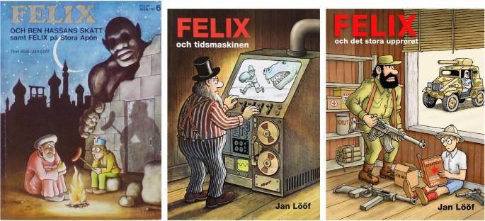 Ett seriealbum från Carlsen (1976) och två från Kartago (2012-13). ©Carlsen/Kartago