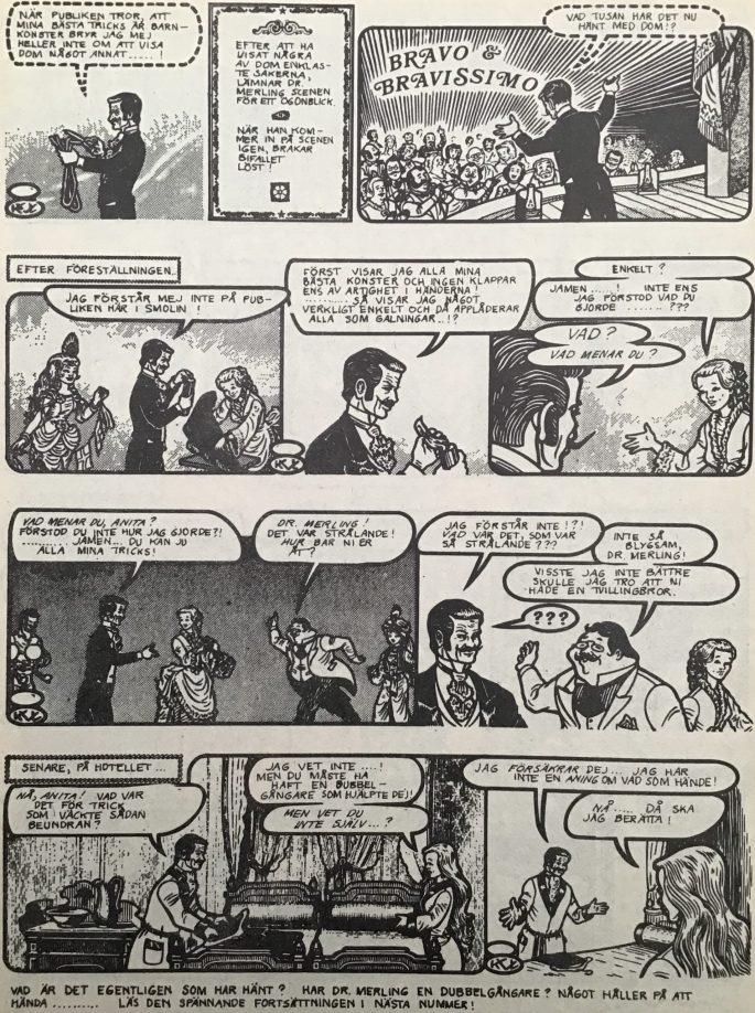 Sista sidan med Dr. Merling i Serie-Pressen nr 19, 1972. ©Saxon&Lindström