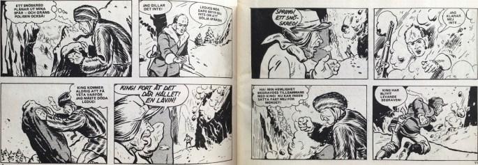 Ett uppslag med King vid gränspolisen, ur Veckans serier, extranumret i Fantomen nr 20, 1972. ©KFS