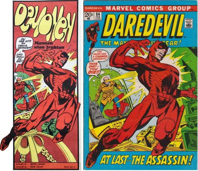 Inledande ruta från framsidan på Serie-Pressen nr 5, 1972, och omslag till Daredevil #84 (1972). ©Marvel