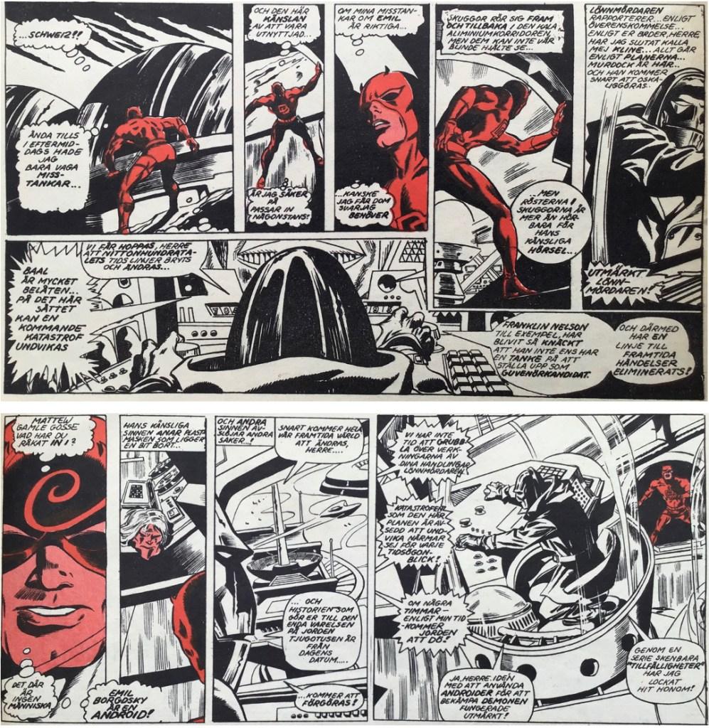 Några serierutor från sidan 20-21 ur Serie-Pressen nr 5, 1972. ©Marvel