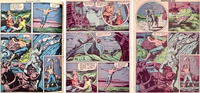 Sidan 20 ur IK nr 109, och sidan 23-24 ur CC #14 (1943). ©IK/Gilberton