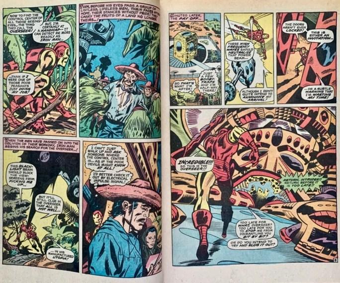 Ett uppslag med motsvarande serierutor i original ur Iron Man #29. ©Marvel
