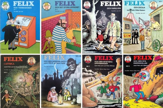 Den första uppsättningen seriealbum med Felix. ©Carlsen