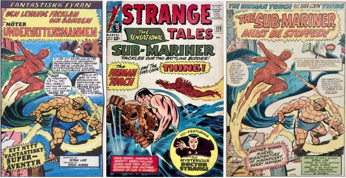 Inledande ruta från framsidan på Serie-Pressen nr 2, 1971, omslag och förstasida ur Strange Tales #125. ©Marvel