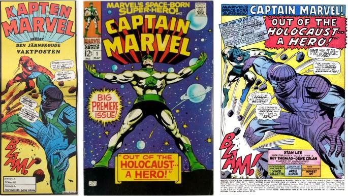 Inledande ruta från framsidan på Serie-Pressen nr 5, 1971, omslag och förstasida ur Captain Marvel #1 (1968). ©Marvel