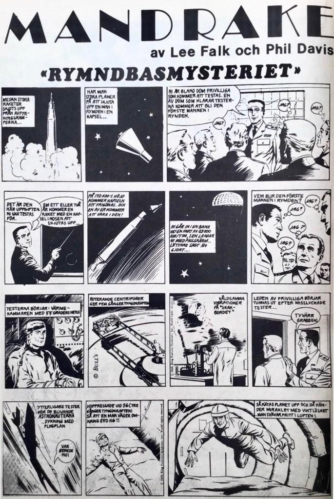 En sida med Mandrake ur Serie-Pressen nr 15, 1972. ©Bulls