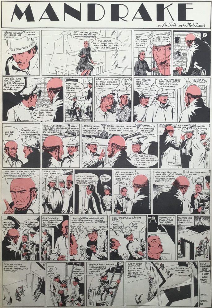 En sida med Mandrake ur Serie-Pressen nr 3, 1972. ©Bulls