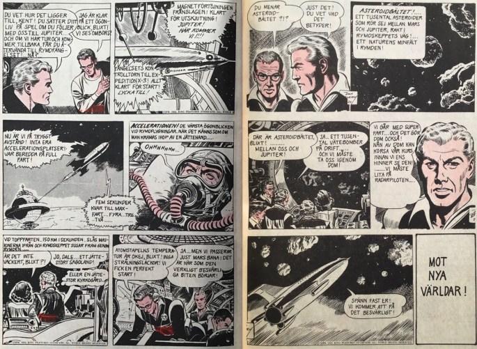 Ett uppslag med Blixt Gordon, som inleder den andra episoden i nr 11/72. ©Bulls