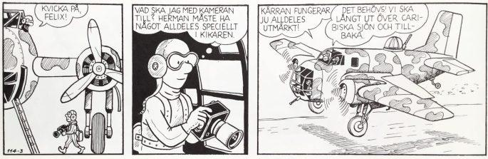 I episoden Det stora upproret uppträder Felix i pilotmundering. Dessförinnan hade han alltid varit klädd i rock och sin höga hatt. ©PIB