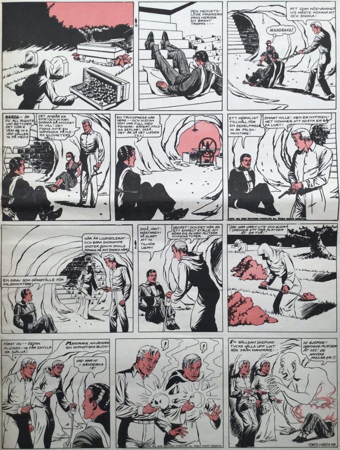 En sida med Mandrake ur Serie-Pressen nr 7, 1972. ©Bulls