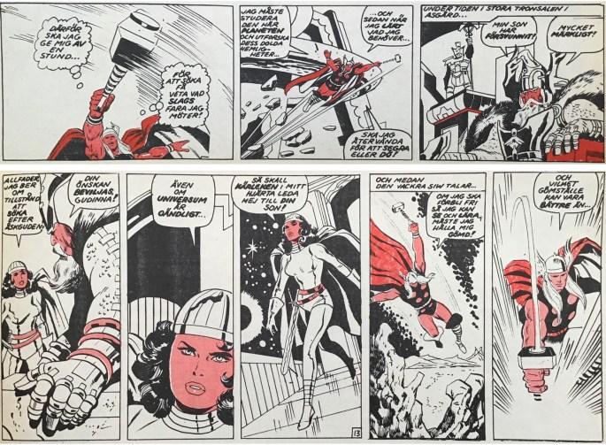 Några serierutor från sidan 20-21 ur Serie-Pressen nr 3, 1971. ©Marvel