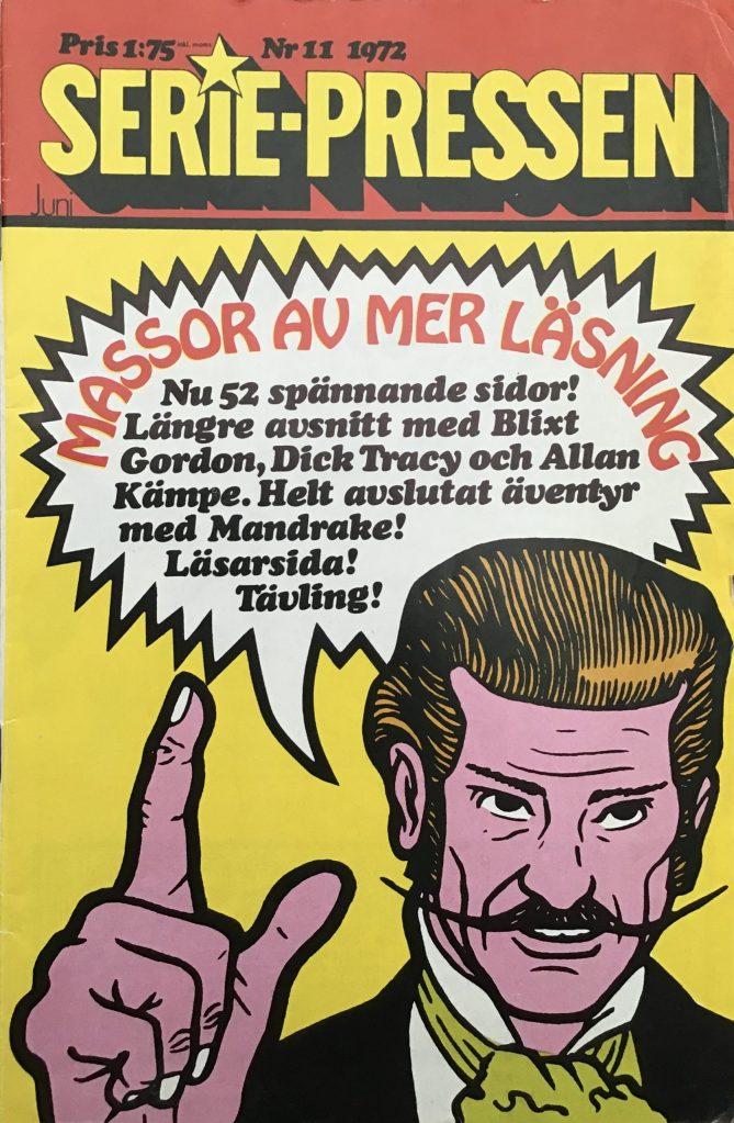 Dr. Merling var en populär serie i Serie-Pressen, som fick inleda på omslaget när tidningen bytte till vanligt serietidningsformat. ©Saxon&Lindström