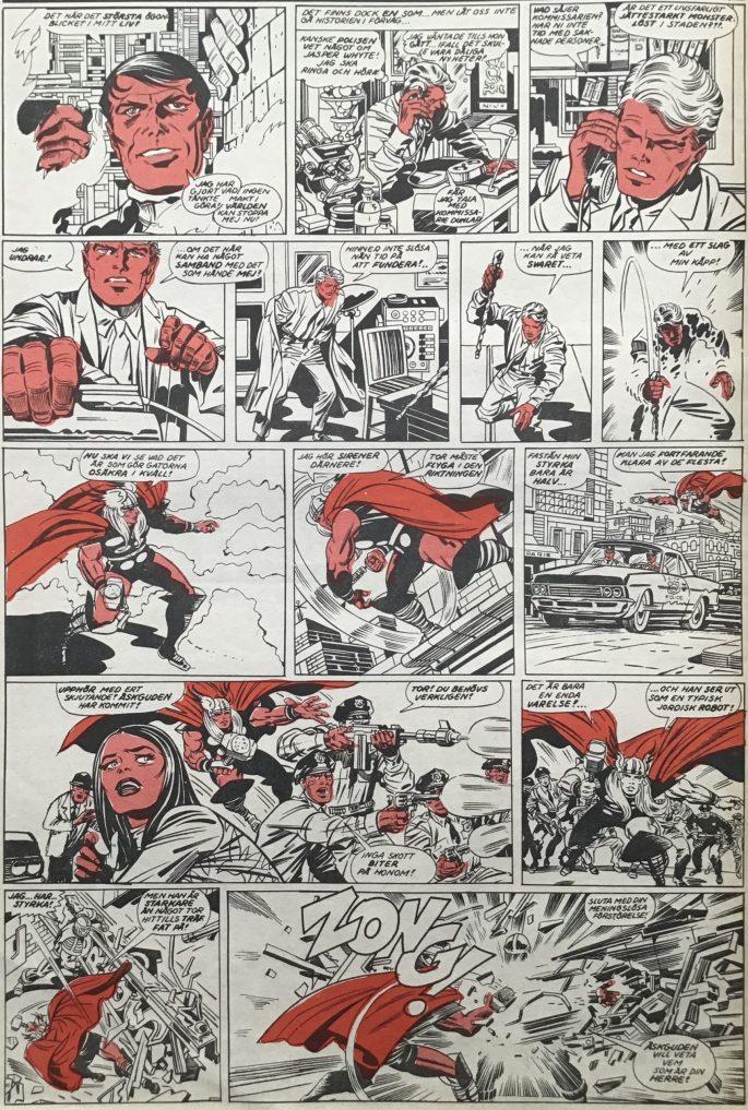 En sida ur Serie-Pressen nr 3, 1972. ©Marvel