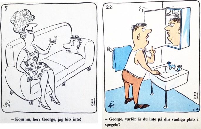 Ett par rutor med George ur Comics nr 1. ©PIB