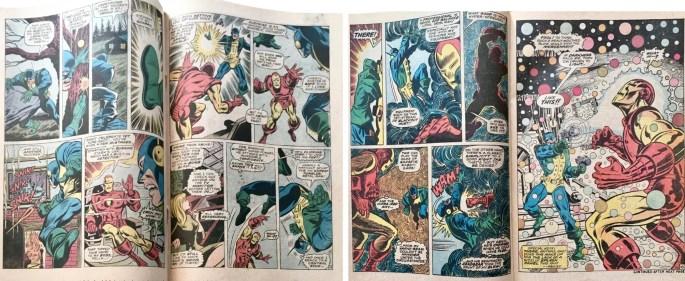 Ett par uppslag med motsvarande original ur Iron Man #23. ©Marvel