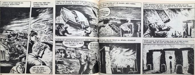 Ett uppslag med När jorden stod still, ur Veckans serier, nr 18, 1972. ©IPC