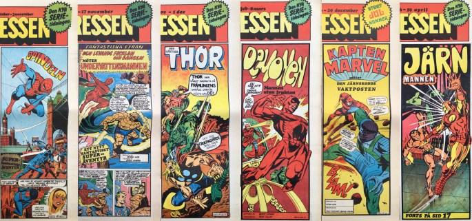 Serie-Pressen hade superhjälteserier från Marvel som en del av innehållet. ©Saxon & Lindström
