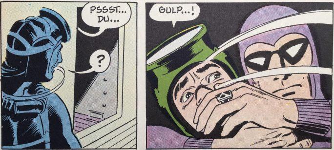Ett par serierutor ur söndagsserien från 27 oktober 1968, tecknad av Sy Barry, ur Comics nr 1. ©Bulls