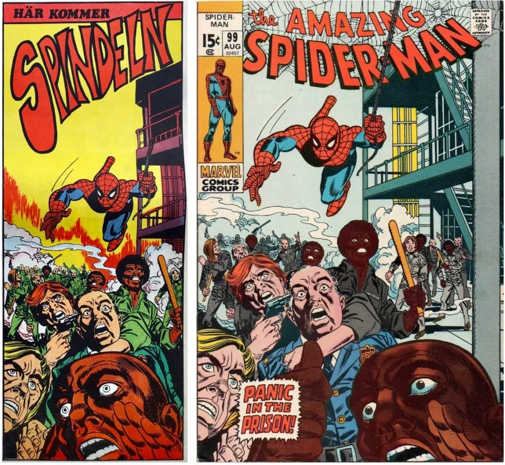 Spindeln från framsidan på Serie-Pressen nr 1, 1972, och omslag till Amazing Spider-Man #99. ©Marvel