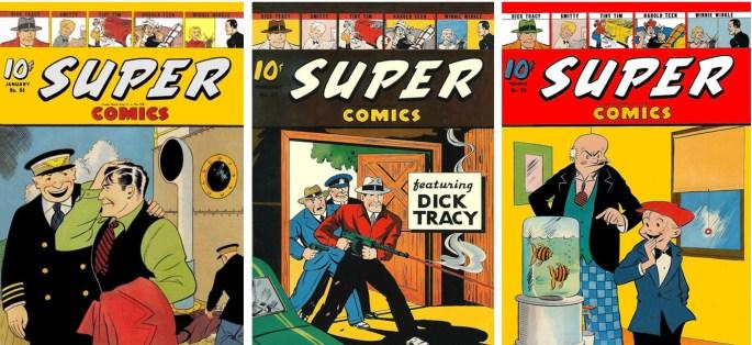 Omslag till Super Comics #56, 57 och 58. ©Dell