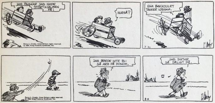 Ett par dagsstrippar med Skippy från 31 juli och 4 augusti ur Comics nr 3. ©Bulls