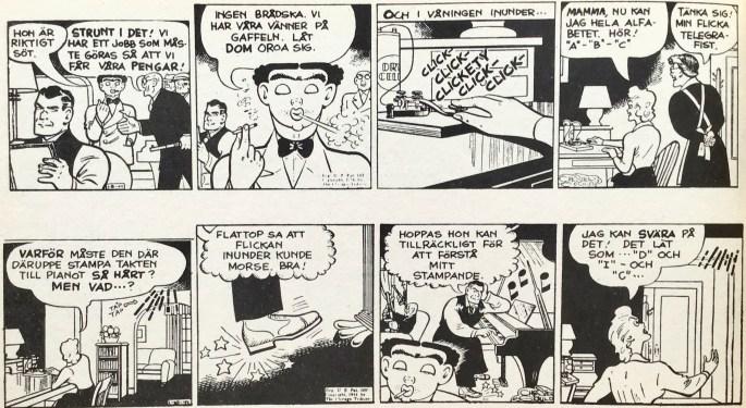 Ett par dagsstrippar med Dick Tracy, från 8 och 10 januari 1944, ur Comics nr 3. ©PIB