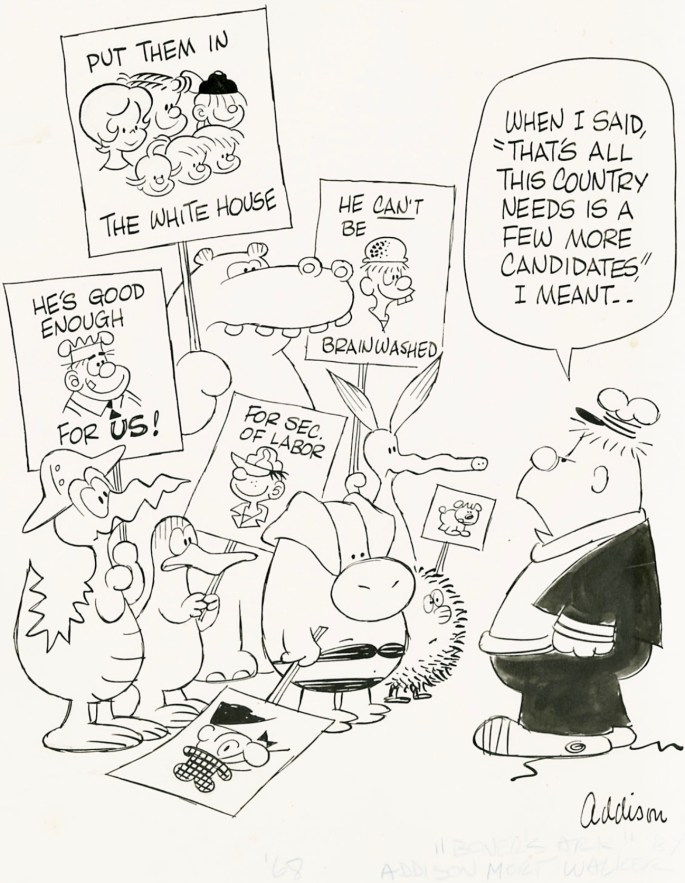 Ett original med flera Mort Walker-seriefigurer, med fokus på Boner's Ark och djuren på arken. ©KFS