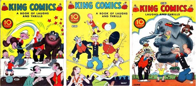 Tre första numren av King Comics från 1936, alla med Mr. jiggs på omslaget. ©McKay