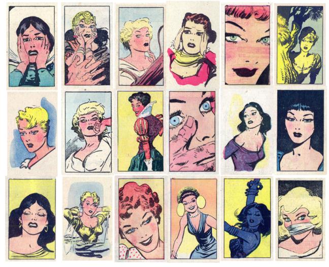 Olika Throwaway panels i Kevin the Bold med kvinnligt motiv. ©NEA