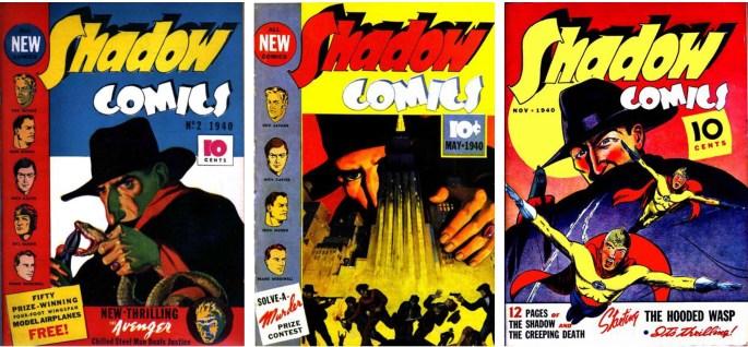 Omslag till några nummer av serietidningen The Shadow från 1940.  ©Street&Smith