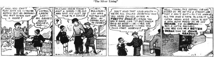 En dagsstripp med Little Annie Rooney från 7 januari 1930. ©KFS