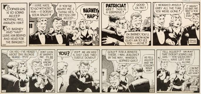Original till motsvarande dagsstrippar från lördag 22 och måndag 24 april 1939. Måndagsstrippen var bortredigerad i Comics. ©KFS