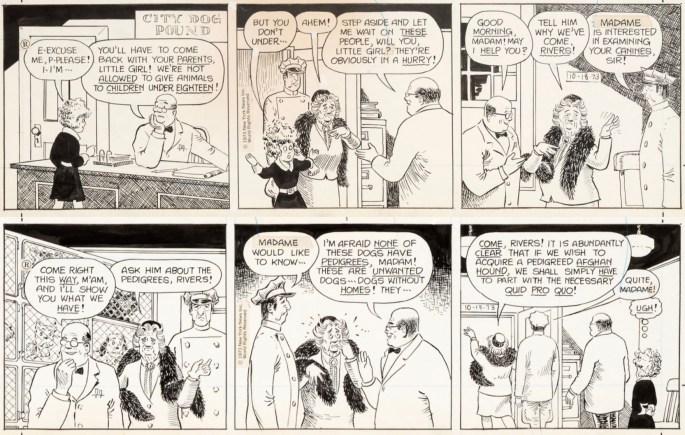 Original till ett par dagsstrippar av Text Blaisdell (skiss) och David Lettick (tusch), från 18-9 oktober 1973. ©NY News