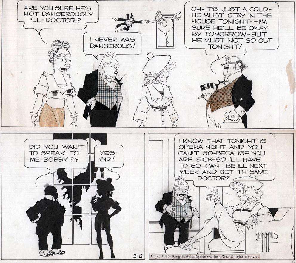 Original till en dagsstripp av George McManus från 6 mars 1945. ©KFS