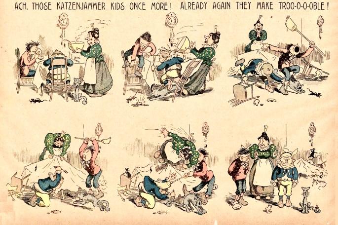 Andra söndagssstrippen med Katzenjammer Kids, från 19 december 1897.